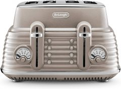 De'Longhi Scolpito 4 Slice Toaster - Beige