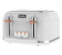 BREVILLE Curve VTT787 4-Slice Toaster - White & Chrome