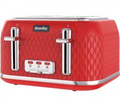 BREVILLE Curve VTT787 4-Slice Toaster - Red