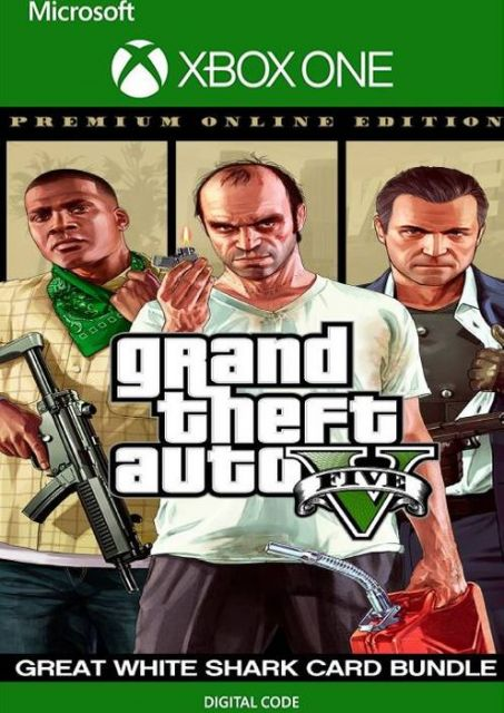 Grand Theft Auto 5 Premium Online Edition & Great White Shark Card Bundle - Xbox One - Instant Digital Download