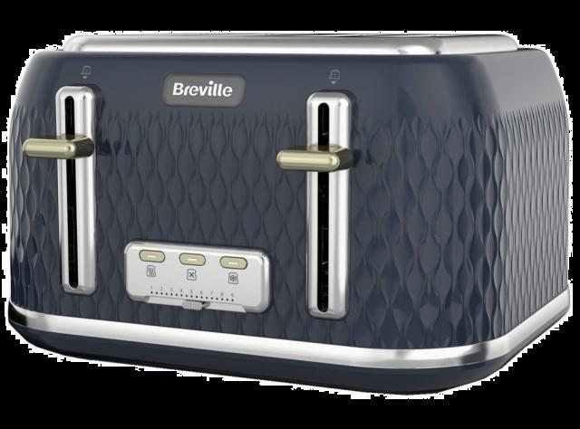 BREVILLE Curve VTT965 4-Slice Toaster - Dark Navy & Gold