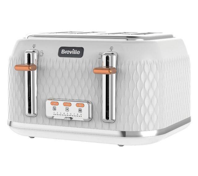 BREVILLE Curve VTT787 4-Slice Toaster - White & Chrome