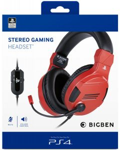 Official Licensed Stereo Gaming Headset for PS4 - Red