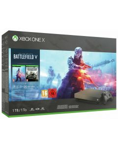 Xbox One X 1TB Console – Gold Rush Special Edition Battlefield V Bundle